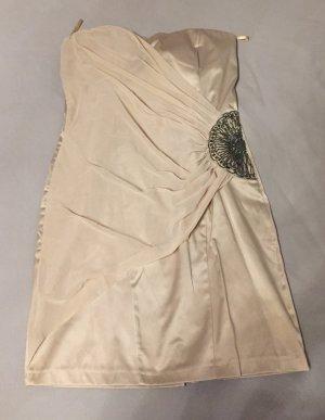 festliches Bandeau Kleid, beige, mit Zierapplikationen, Größe 38