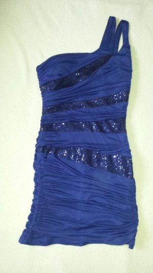 Festliches figurbetontes one-shoulder Cocktailkleid mit Pailletten in Blau/Lila