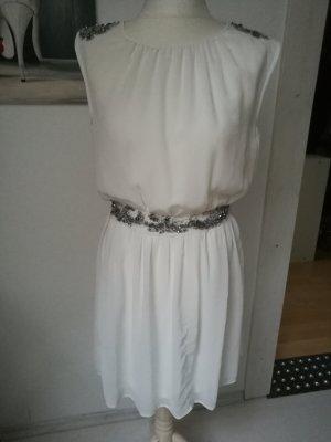 Zara Vestido blanco-color plata