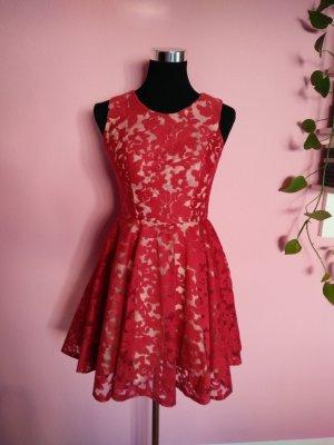 Festliches Kleid mit roter Spitze für Hochzeit/Abi/Ball (Box 10)