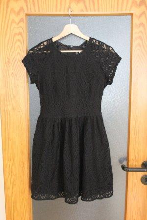 Festliches kurzes Kleid, A-Linie, schwarz mit Spitze, Größe 38