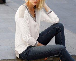 Festliches Langarm Shirt mit Glanzeffekten Laura Scott - wollweiß - Gr. 38 - Neu