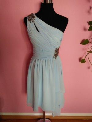 Festliches One-Sholder-Kleid in hellblau für Hochzeit/Abi (Box 7)