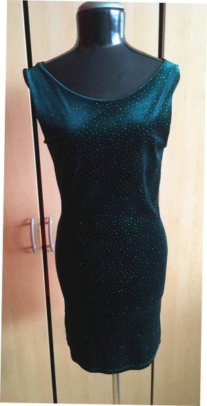 Festliches Stretch halbgefüttertes Kleid Samtkleid mit Strass Gr.36 wie Neu