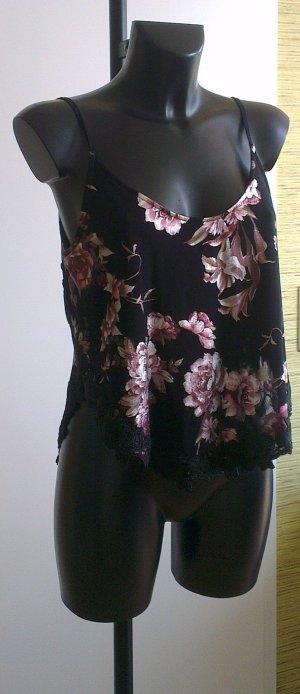 Zara Woman Top di merletto multicolore Poliammide