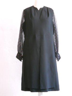 Festliches Vintage Kleid schwarz-transparent Gr. 46/48