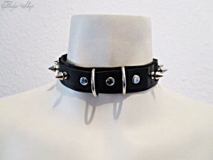 Necklace black-silver-colored leather