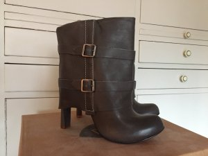 Feud London Luxus High Heel Schaft-Stiefeletten Echtleder