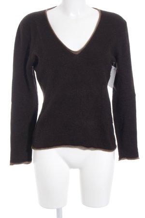 FFC V-Ausschnitt-Pullover braun-dunkelbraun meliert Casual-Look
