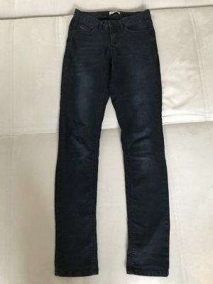 His Jeans taille haute bleu foncé-noir coton
