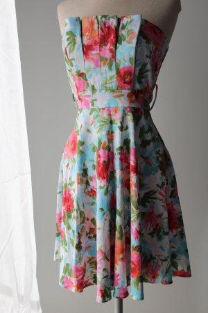 figurbetont schulterfrei Kleid Gr. 36 S Bandeaukleid Minikleid kurz mini Sommerfarben l