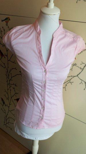 Figurbetonte Bluse, rosa&weiß kariert