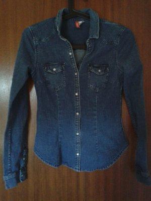 Figurbetonte, dunkelblau Jeansbluse