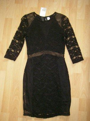 Figurbetontes Kleid aus Spitze und Mesh schwarz H&M - Gr. 34 - Neu!