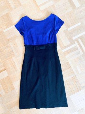 Figurbetontes Kleid/ Businesskleid / Büro schwarz lila kurzarm Barbara Schwarzer Gr. 36/S