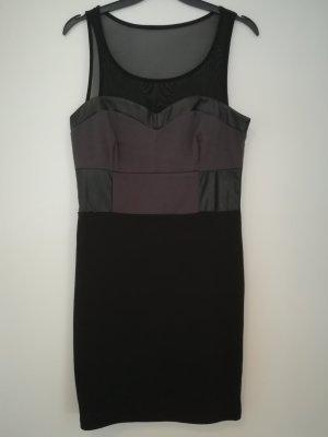 figurbetontes Kleid grau schwarz