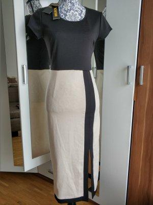 Vestido a media pierna negro-crema