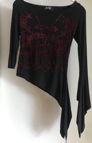 Boothalsshirt zwart-bordeaux Viscose
