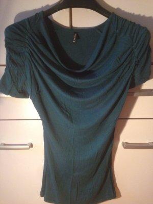 Camisa con cuello caído verde oscuro