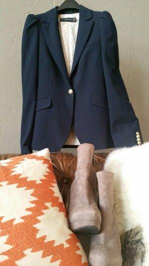 Zara Blazer long bleu foncé-doré tissu mixte
