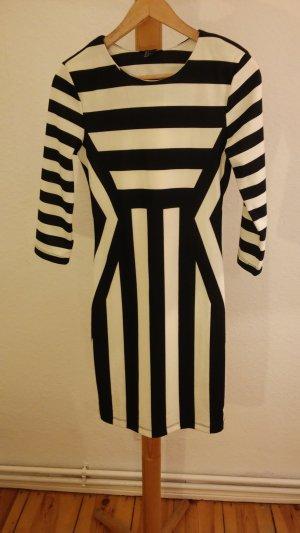 H&M Kokerjurk zwart-wit