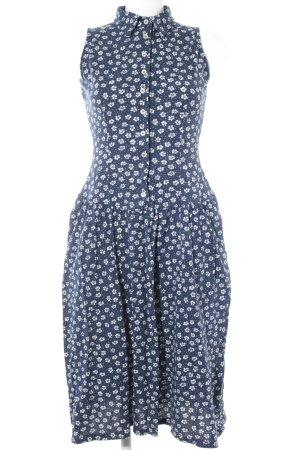 Fila Blusenkleid blau-weiß florales Muster 60ies-Stil