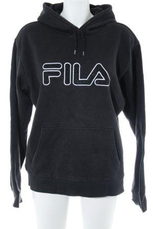 Fila Sweatshirt met capuchon zwart gedrukte letters Jaren 90 stijl