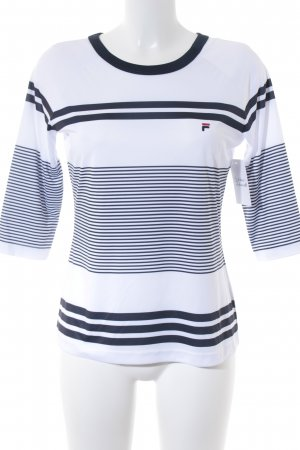 Fila Kurzarmpullover weiß-dunkelblau Streifenmuster sportlicher Stil