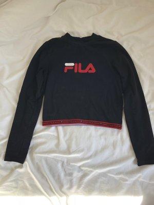 Fila Oberteil Shirt langarm Bauchfrei schwarz rot Sport Aufdruck Rollkragen Baumwolle eng figurbetont Trend 90er