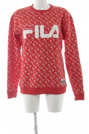 Fila Sweatshirt rot-weiß grafisches Muster Street-Fashion-Look