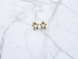 filigrane goldene Ohrringe in Stern Form