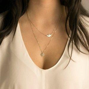 Filigrane Kette Halskette doppelt gold Vogel Style Blogger Business Casual Damen