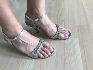 Andrea Conti Sandalias de tiras color plata
