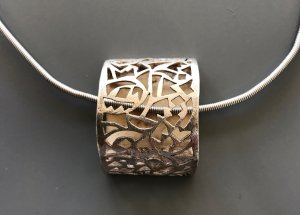 Pendant silver-colored real silver