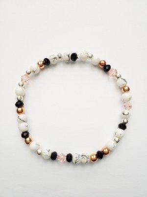 filigranes Armband mit weiß-schwarzen, schwarzen, rosafarbenen& silber- und rosegoldfarbenen Perlen