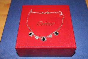 Filigranes Halskettchen / Collier aus Silber mit Onyx