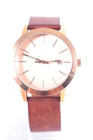Filippo Loretti Uhr mit Lederarmband braun-roségoldfarben klassischer Stil