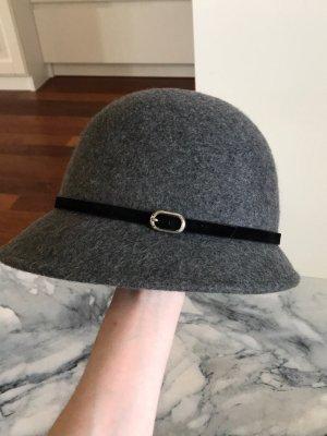Filzhut, H&M, Größe L/58, grau mit schwarzem Band, 100% Wolle