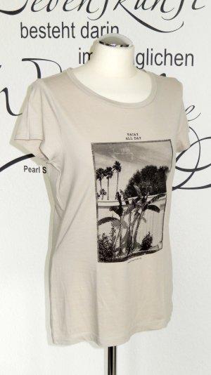 """FINAL SALE bis 30.09.!! Beigefarbenes T-Shirt mit Print (""""Vacay all day"""", 100% Baumwolle) - NEU!!"""