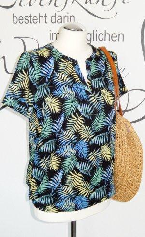 FINAL SALE bis 30.09.!! Luftiges Blusenshirt mit trendigem Muster (Gummizug im Bund, 100% Viskose) - Nur einmal getragen!