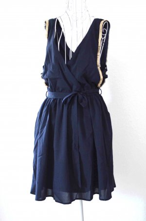 FINAL SALE! Double Zero Kleid marine blau gold M NEU mit Etikett