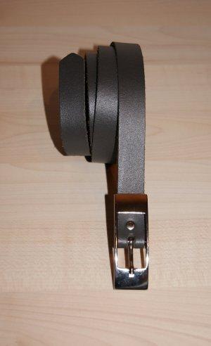 Leather Belt dark grey leather