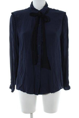 Finery Ruche blouse blauw-zwart zakelijke stijl