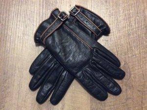 Fingerhandschuhe schwarz-cognac
