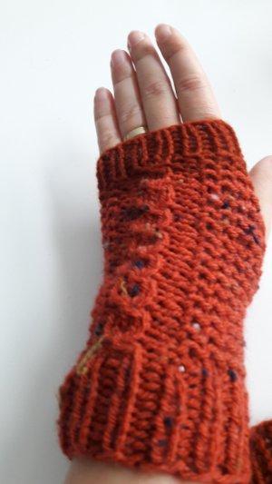 Gebreide handschoenen cognac-donker oranje