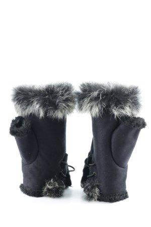Fingerless Gloves black-natural white glittery