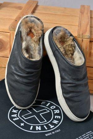 FIORENTINI & BAKER warm gefütterte Slipper Slip-on 37 Leder schwarz Fell Sporty OVP