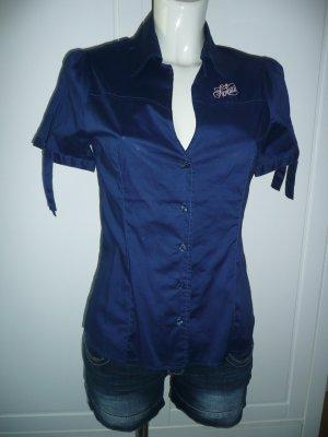Fiorucci Kurzarm Bluse Hemdbluse tailliert dunkelblau Gr M