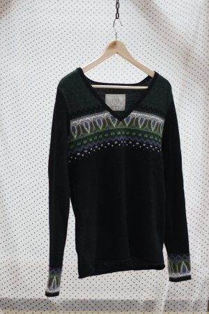 FIRE AND ICE - Norweger-Pullover - Wolle & Kaschmir - schwarz/grün - Gr. 38