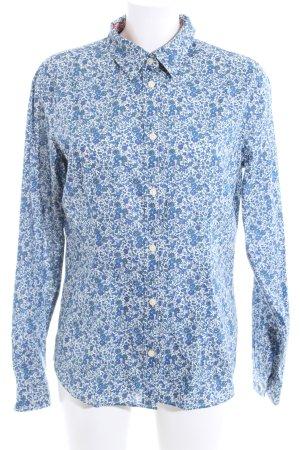 Fire + ice Hemd-Bluse blau-weiß Blumenmuster Casual-Look